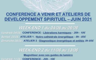 CONFERENCE A VENIR ET ATELIERS DE DEVELOPPEMENT SPIRITUEL A Clermont Ferrand – JUIN 2021